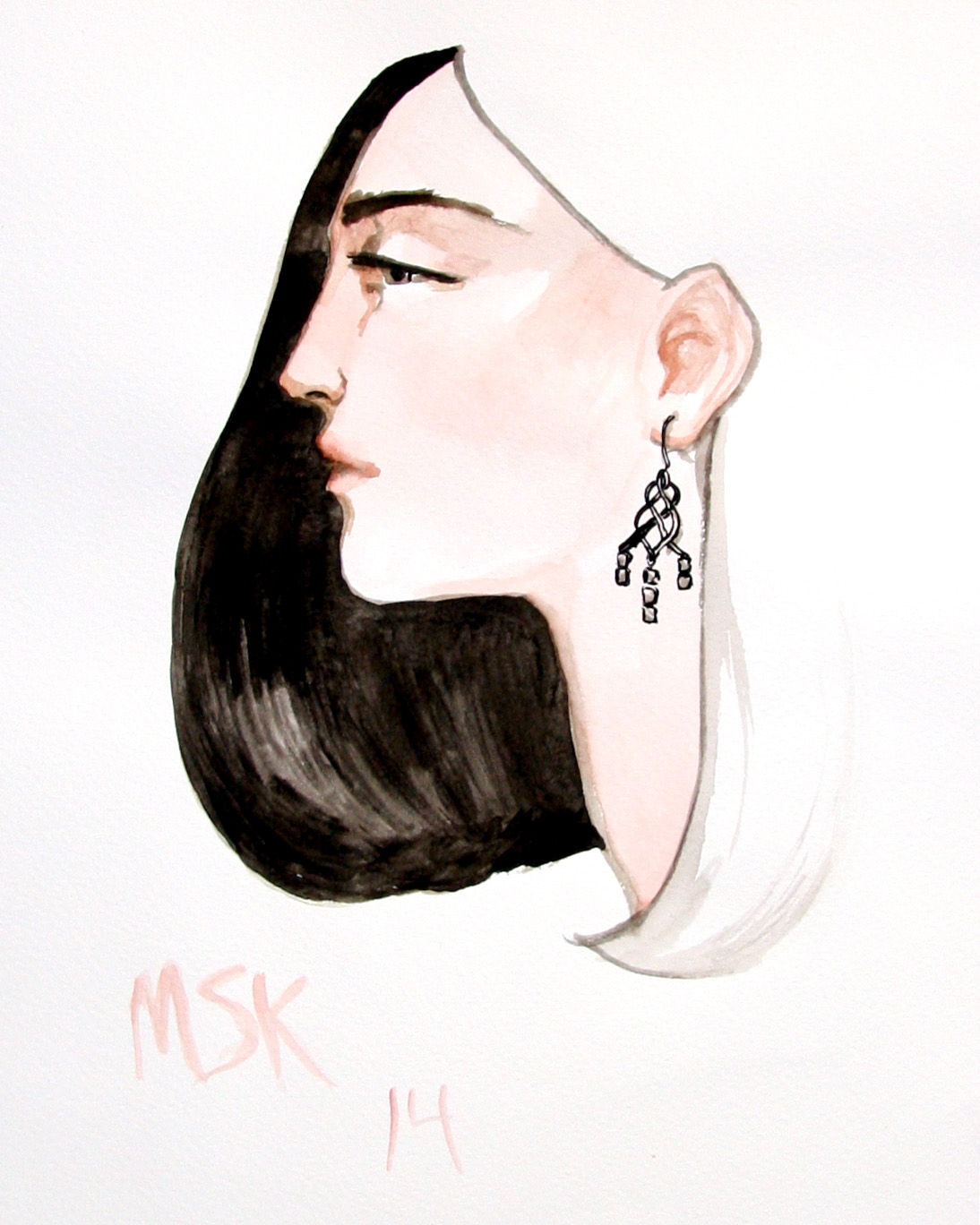 A John Hardy earring on a model of my imagination. These are the drawings I make when I have down time at an event.