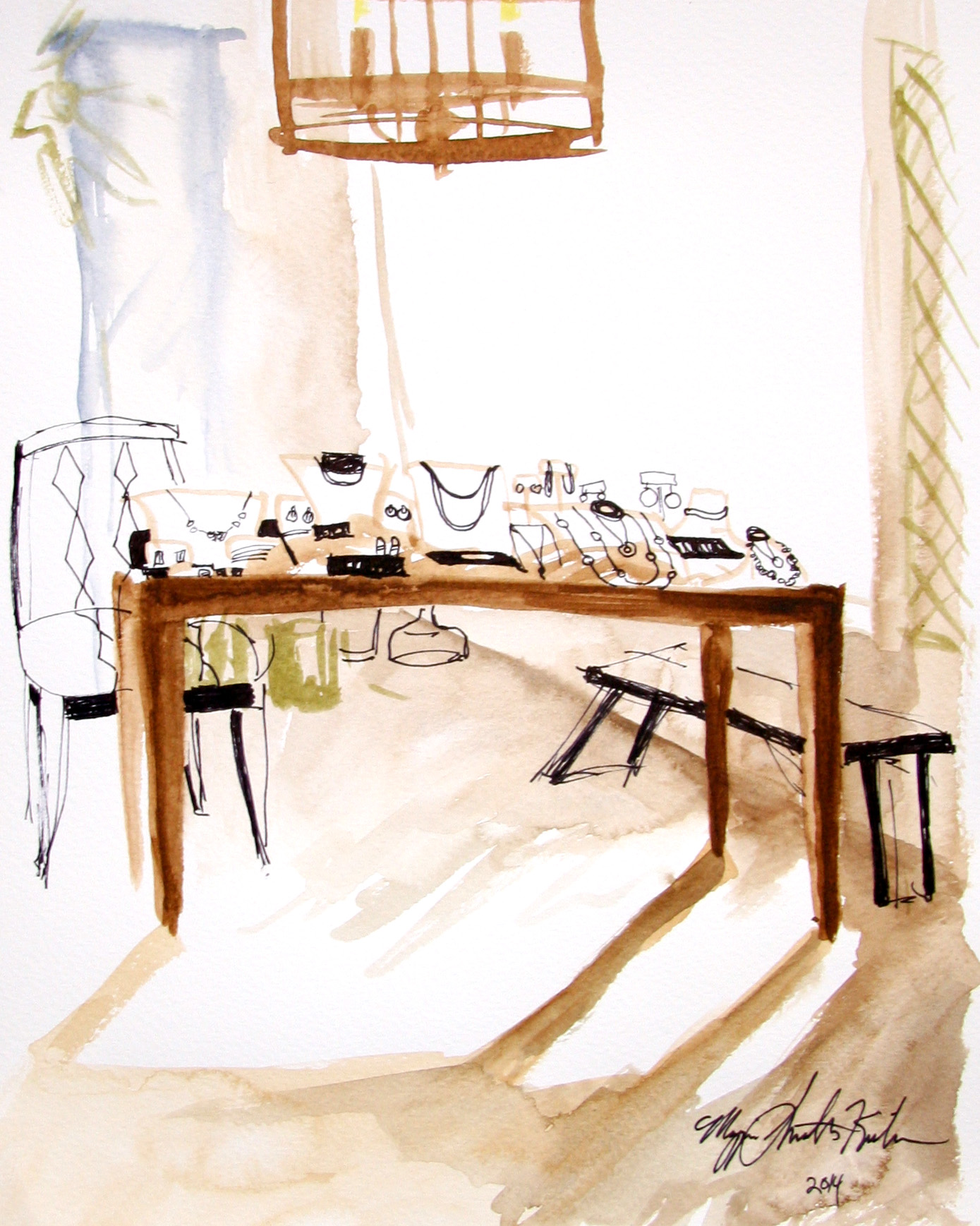 A watercolor sketch of the display table for the jewelry.