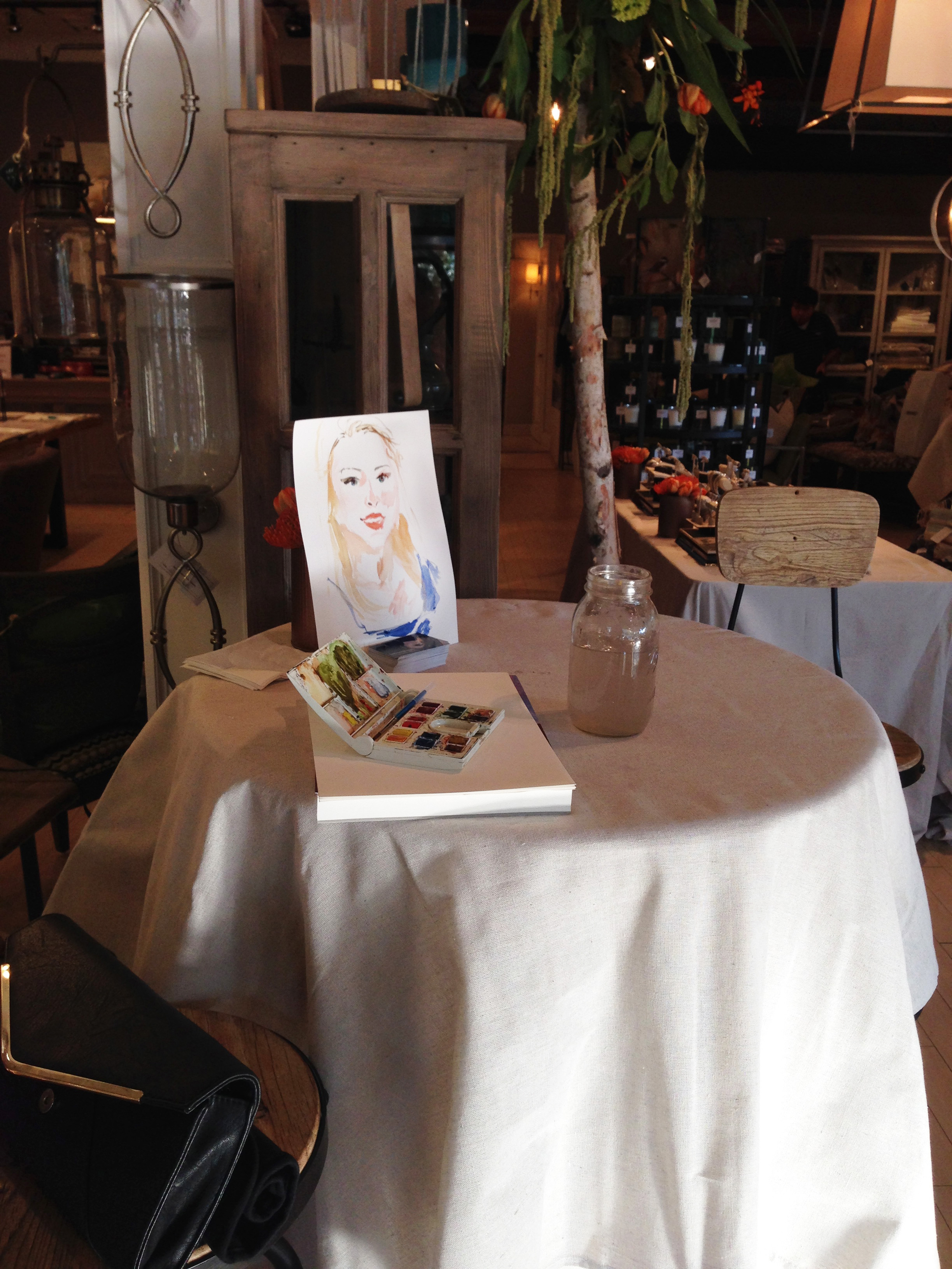 My painting station at the Nandina store in Aiken, SC. Such a beautiful environment for a party, all the fine finishings were a perfect backdrop to the night.