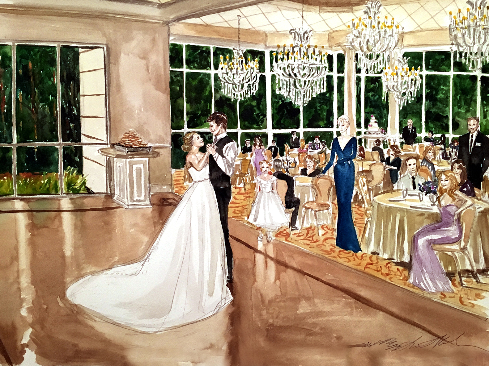 ashley kevin watercolor live event wedding painting