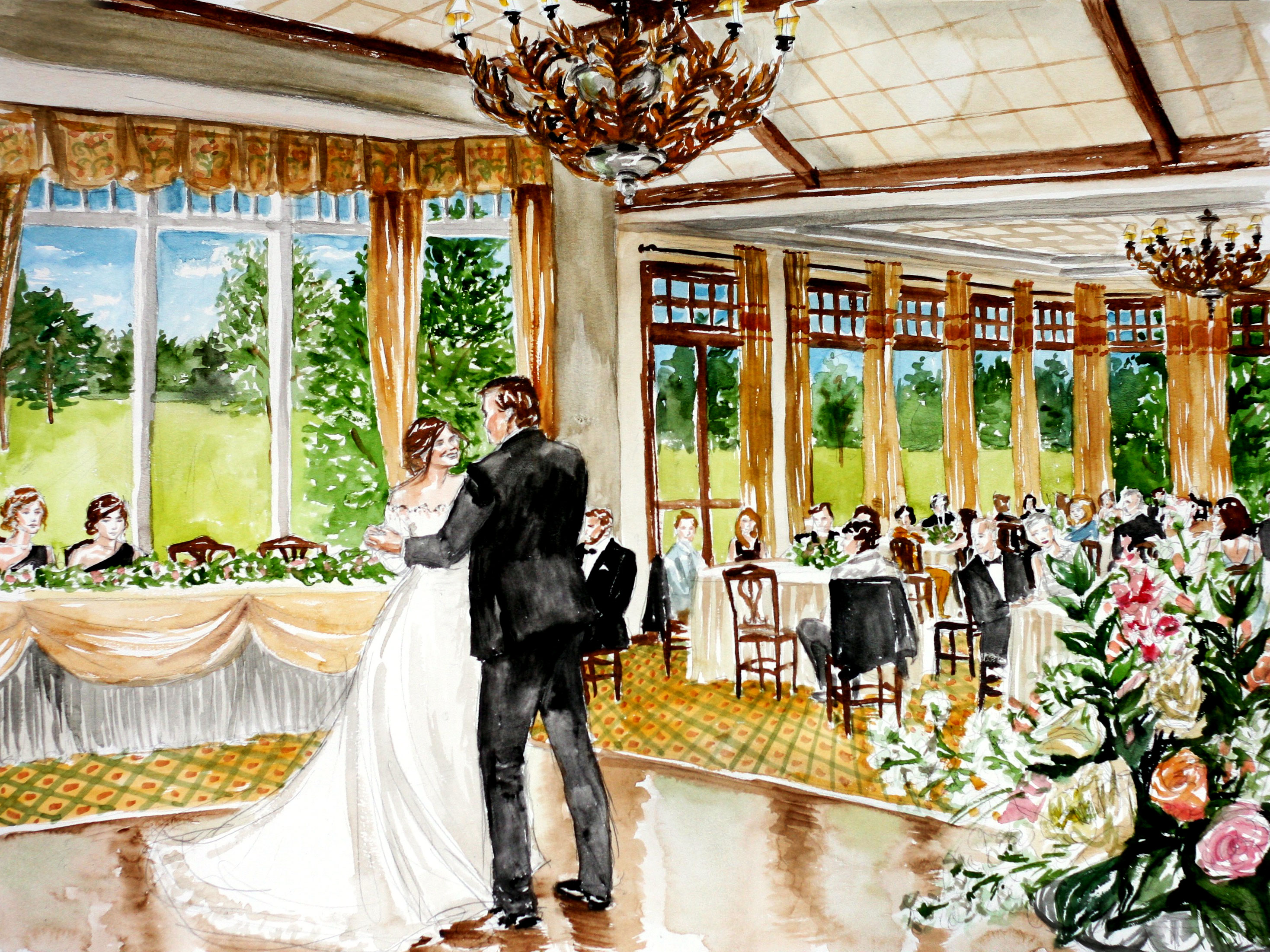 Becky Dan Watercolor Live Event Wedding Painting