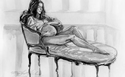 Maternity Boudoir Live Portrait Session