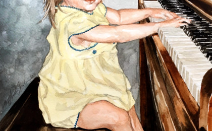 Olivia at the Piano: Watercolor Photography Based Portrait