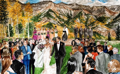 Kira & Christopher: Watercolor Live Event Wedding Painting