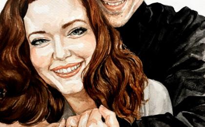 Adam & Sarah: Photography Based Watercolor Engagement Portrait