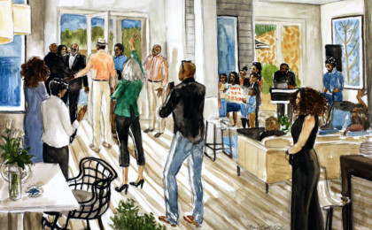 Doug's 50th Birthday Surprise Party: Watercolor Live Event Painting