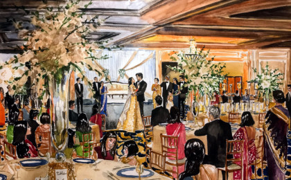Gina & Sharad: Watercolor Wedding Live Event Painting
