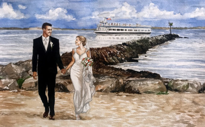 Greg & Megan: Photography Based Watercolor Wedding Portrait