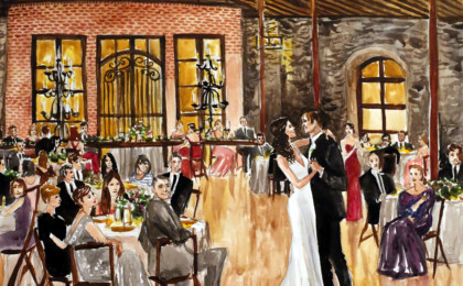 Alisa & Hugh Live Event Watercolor Wedding Painting
