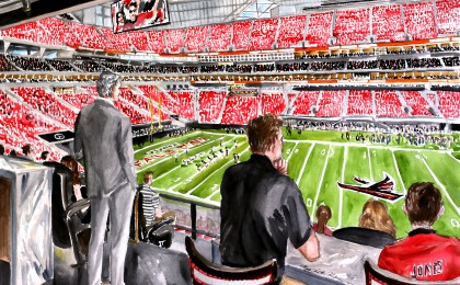 Mercedes-Benz Atlanta Falcons Stadium: 22×30 in watercolor sporting event painting