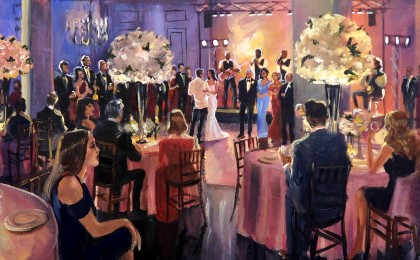 Alexis & Matthew: 22×28 inch Acrylic Live Event Wedding Painting