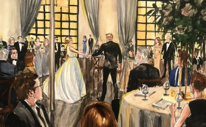 Madison & Jared: Watercolor 18×24 Inch Live Event Wedding Painting
