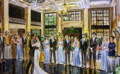 Courtney & Kyle: 18×24 inch Watercolor Live Event Wedding Painting