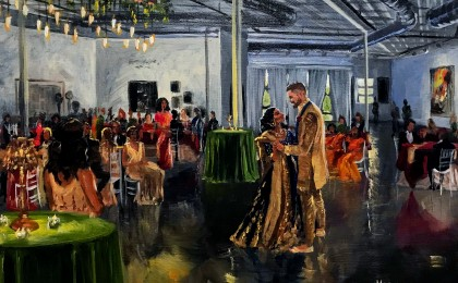 Zachary & Shika: 16×20 inch Acrylic Live Event Wedding Painting