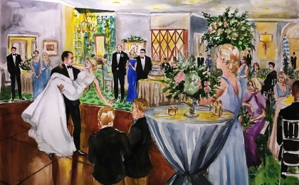 Ashleigh & Christopher: 18×24 inch Watercolor Live Event Wedding Painting
