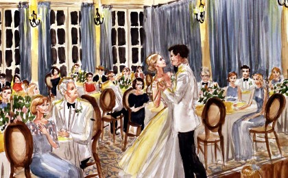 Katherine & John: 18×24 inch Watercolor Live Event Wedding Painting