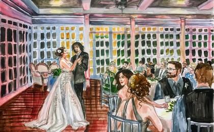 Damon & Madison 18×24 inch Watercolor Live Wedding Painting